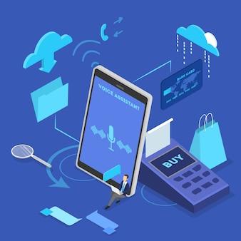 携帯電話のコンセプトの音声アシスタント。デジタル技術とスマートガジェット。音声認識と音声制御。等角投影図