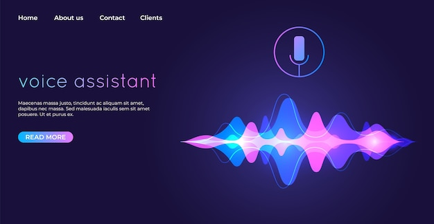 Voice assistant landing page. voice recognition illustration.