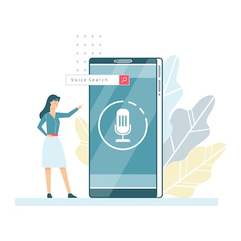 Voice assistant in the mobile phone concept.