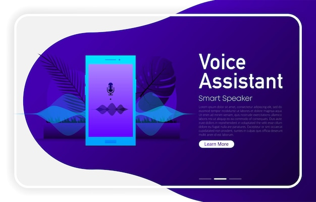 Voice assistant on phone screen on dark gradient color. browser window. vector illustration.