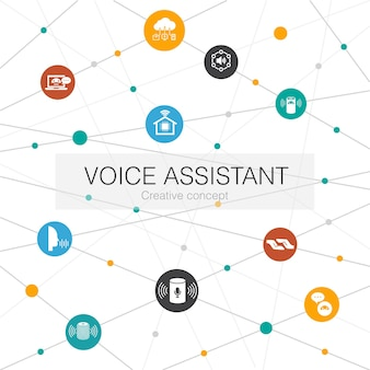 Voice assistant smart home smart speaker iot  trendy web template with simple icons