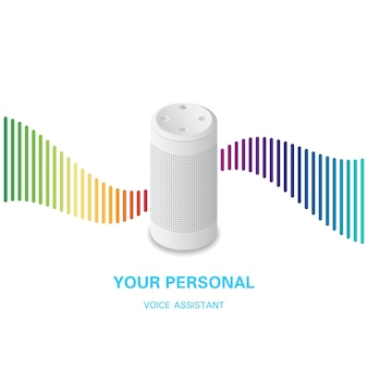 Voice assistant. smart speaker with rainbow sound wave on white