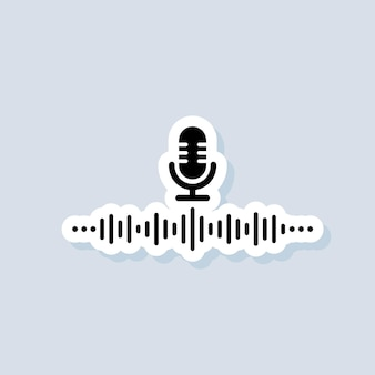 Voice assistant sticker. ai personal assistant and voice recognition icon. microphone with soundwave. vector on isolated background. eps 10.