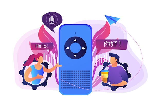 Voice assistant translating into foreign languages illustration
