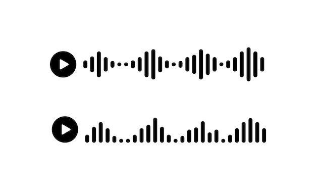 Значок голосового звукового сообщения в черном цвете. вектор eps 10. изолированный на белой предпосылке.