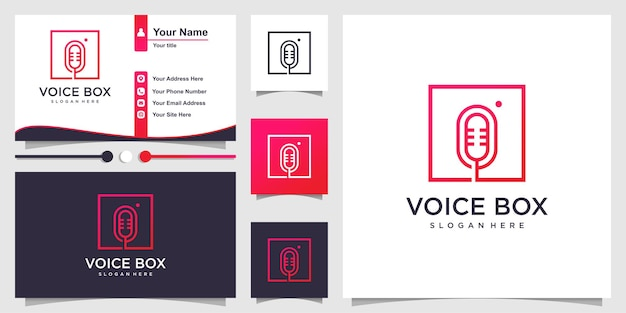 Voice box logo with modern line art style and business card design premium vector