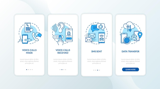 Voice-calls and sms services onboarding mobile app page screen with concepts. data transfer, roaming walkthrough 4 steps graphic instructions. ui vector template with rgb color illustrations