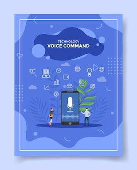 Voice command concept people around smartphone micropone sound wave in screen