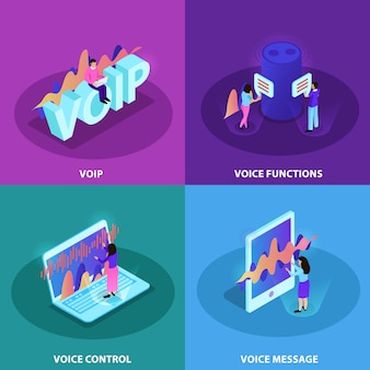 音声認識およびvoip通信等尺性の機能を備えた近代的なデバイスを示す正方形アイコンの音声制御2x2デザインコンセプトセット