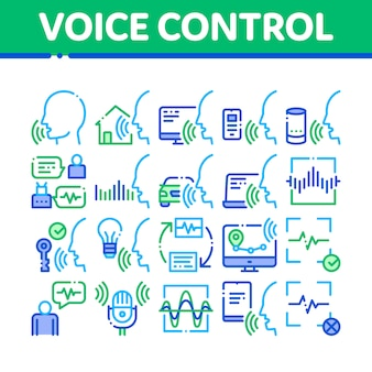 Voice control collection elements icons set