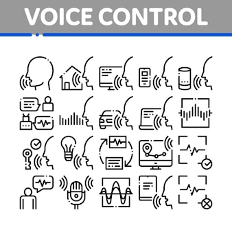 Voice control collection elements icons set