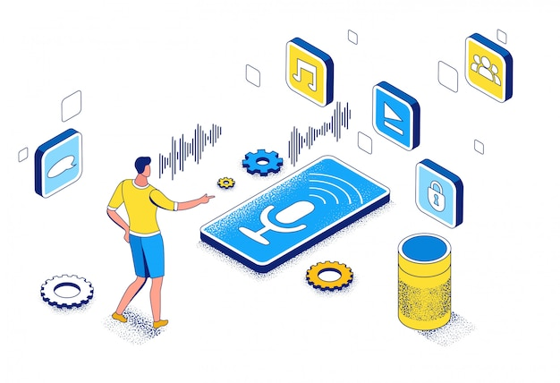 Voice control isometric 3d illustration