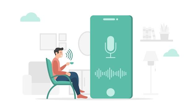 Аппаратное обеспечение технологии голосового управления на смартфоне с современным плоским стилем и минималистичной темой зеленого цвета