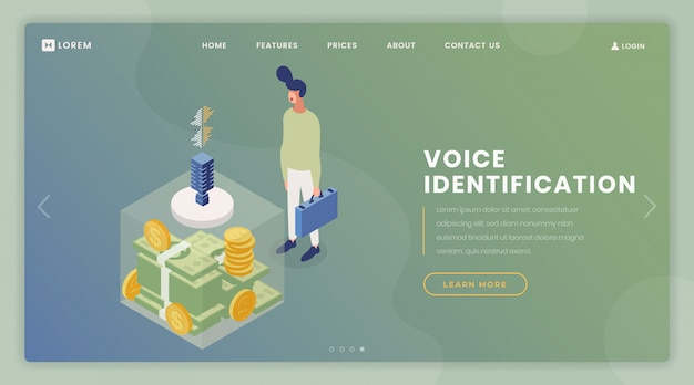 Voice identification landing page vector template