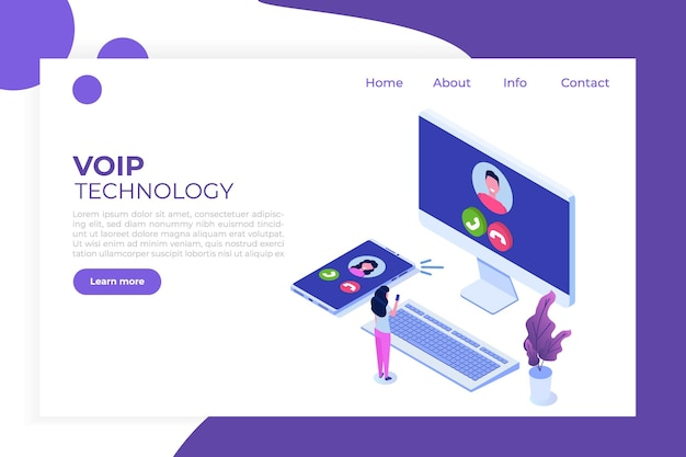 Voice over ip,  ip telephony  voip technology isometric concept.