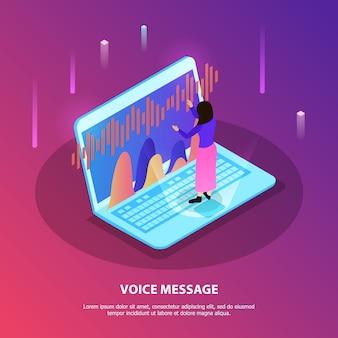 音声認識アプリとラップトップのキーボードに立っている女性と音声メッセージフラット構成