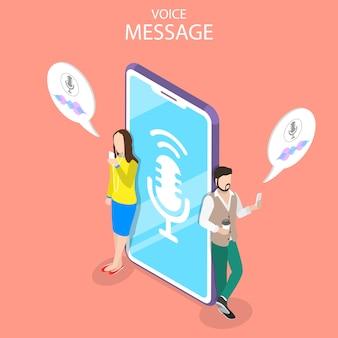 Voice message isometric flat illustrationual illustration.