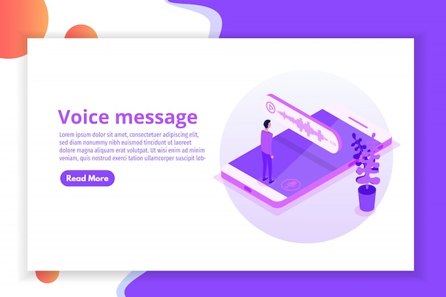 Voice messages isometric, event notification.  illustration