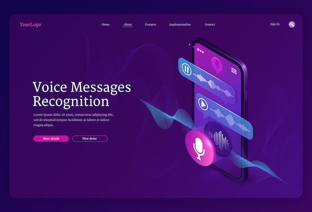 Voice messages recognition banner. mobile application for recording sound, dictate messages and speech. landing page with isometric illustration of smartphone with voice chat and microphone