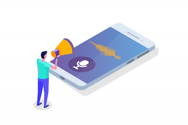 Voice messages, voice recognition isometric concept with character. can use for web banner, landing page template, infographics.