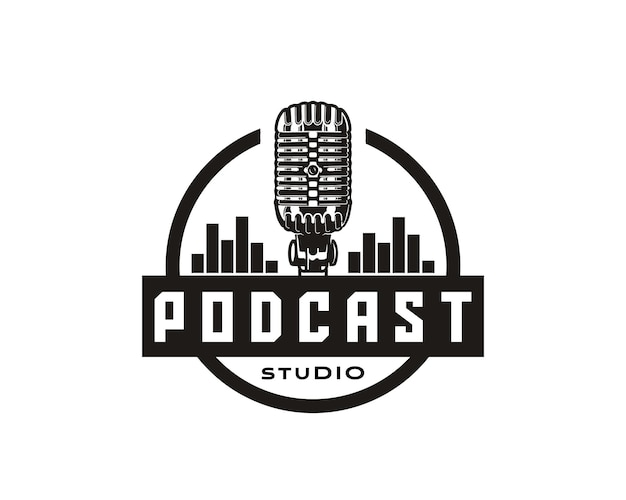 Голос музыкальный подкаст говорящая студия шоу представление круг подкаст логотип значок символ дизайн