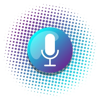 Voice recognition ai personal assistant modern technology visual concept microphone button icon on digital sound wave audio