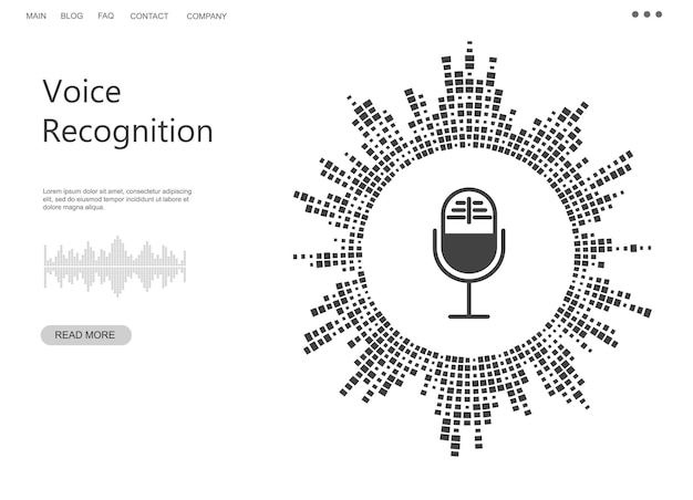 Voice recognition concept black and white banner personal assistant sound waves icon