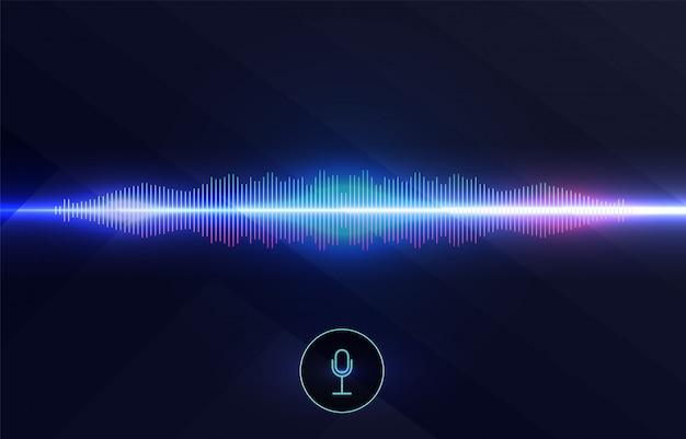 음성 인식, 이퀄라이저, 오디오 레코더. 음파가있는 마이크 버튼. 지능형 기술의 상징. 하이테크 ai 보조 음성, 배경 파 흐름, 이퀄라이저.