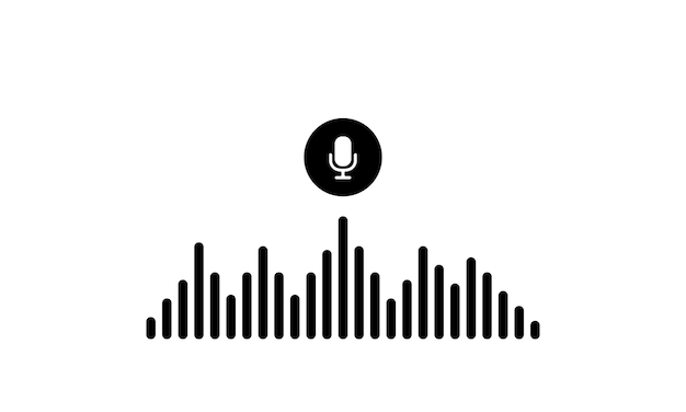 Voice recognition icon in blaack. sound wave with imitation of voice, sound and microphone sign. vector eps 10. isolated on white background.
