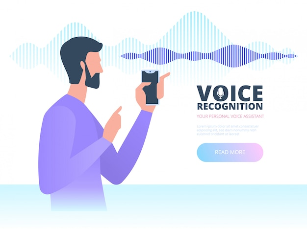 Voice recognition. intelligent voice personal assistant technology concept.