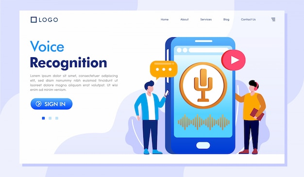 Voice recognition landing page website illustration vector