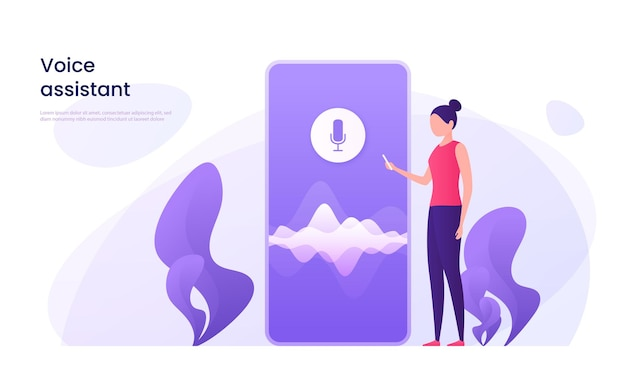 Voice recognition, personal ai assistant, search technology concept.