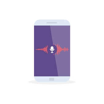Voice recognition personal assistant on mobile app. concept   illustration of device with microphone icon on screen and voice and sound imitation lines.