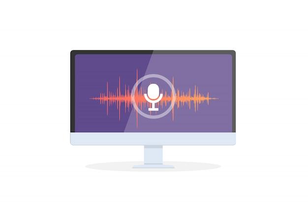 モバイルアプリの音声認識パーソナルアシスタント。画面と音声と音声の模倣線にマイクアイコンを備えたデバイスの概念図。