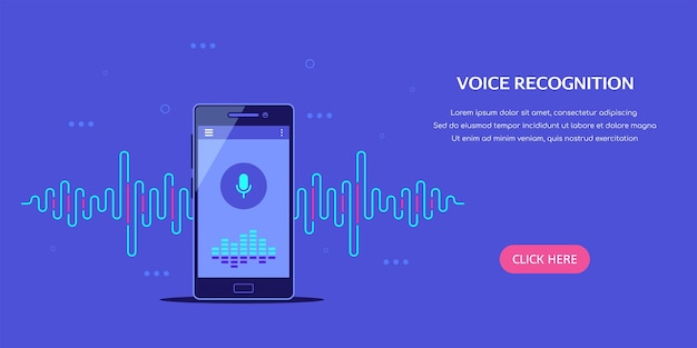 Voice recognition system banner with smartphone and sound wave in flat style illustration