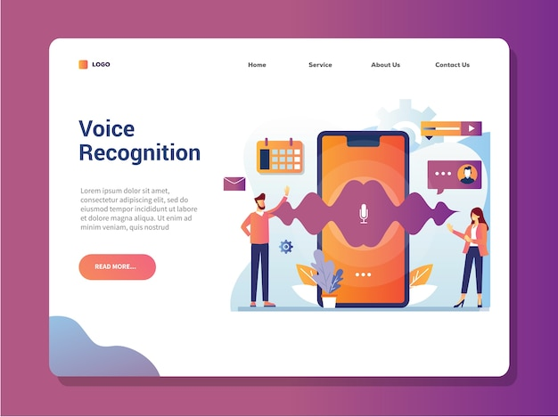 Voice recognition technology landing page vector illustration concept