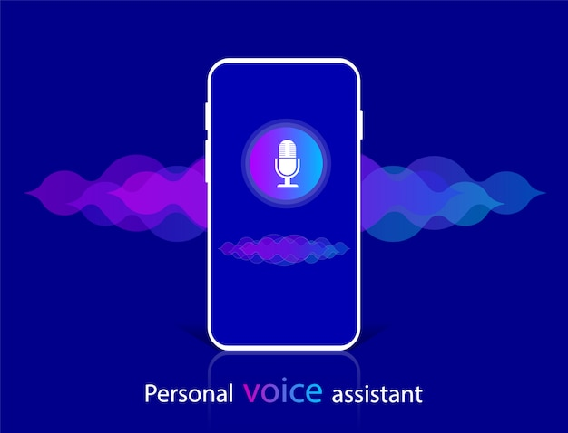 Voice recognitionnd personal assistant. sound wave.