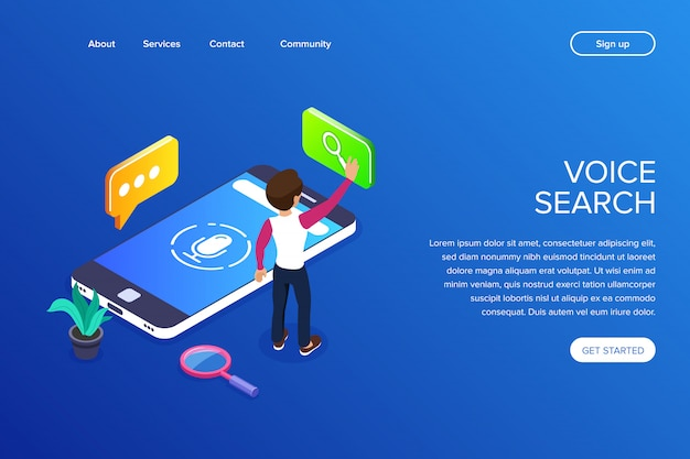 Premium Vector | Voice search landing page