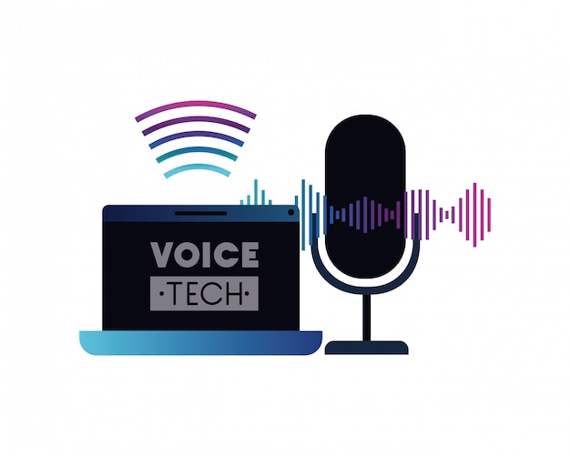 Voice tech label with laptop and voice assistant