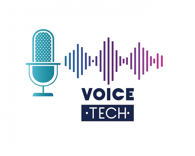 Voice tech label with microphone and sound wave