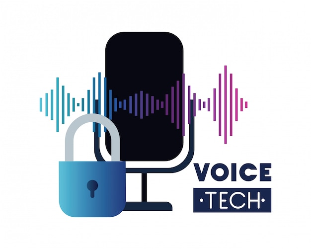 Voice tech label with security padlock and microphone