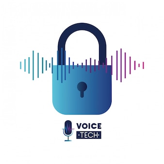 Voice tech label with security padlock