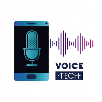Voice tech label with smartphone and voice assistant