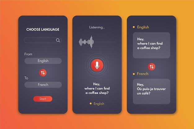 Schermate dell'app traduttore vocale