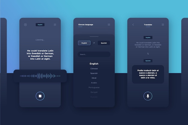 Voice translator app set
