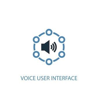 Voice user interface concept 2 colored icon. simple blue element illustration. voice user interface concept symbol design. can be used for web and mobile ui/ux