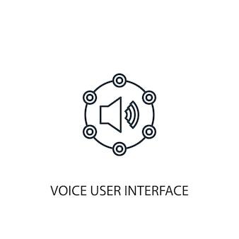 Значок линии концепции голосового интерфейса пользователя. простая иллюстрация элемента. голосовой интерфейс пользователя концепции наброски символа дизайна. может использоваться для веб- и мобильных ui / ux