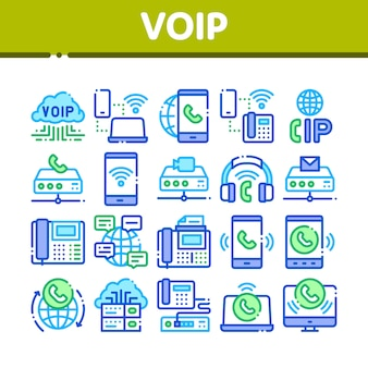Voip calling system collection icons set