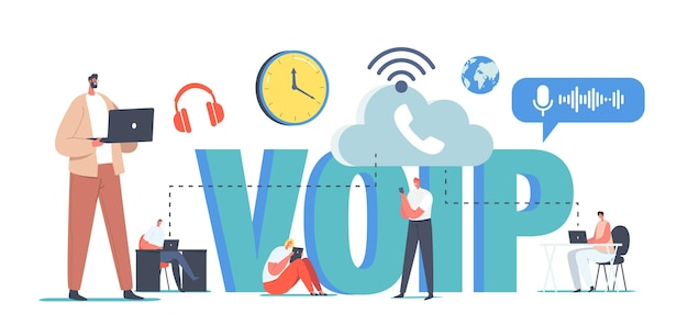 Voip technology, voice over ip concept. characters use telephony, telecommunication system, telephone communication via cloud storage. wireless network connection. cartoon people vector illustration