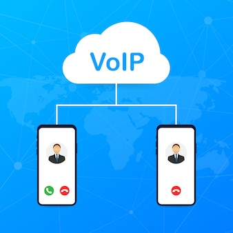 Voip technology, voice over ip. internet calling banner.